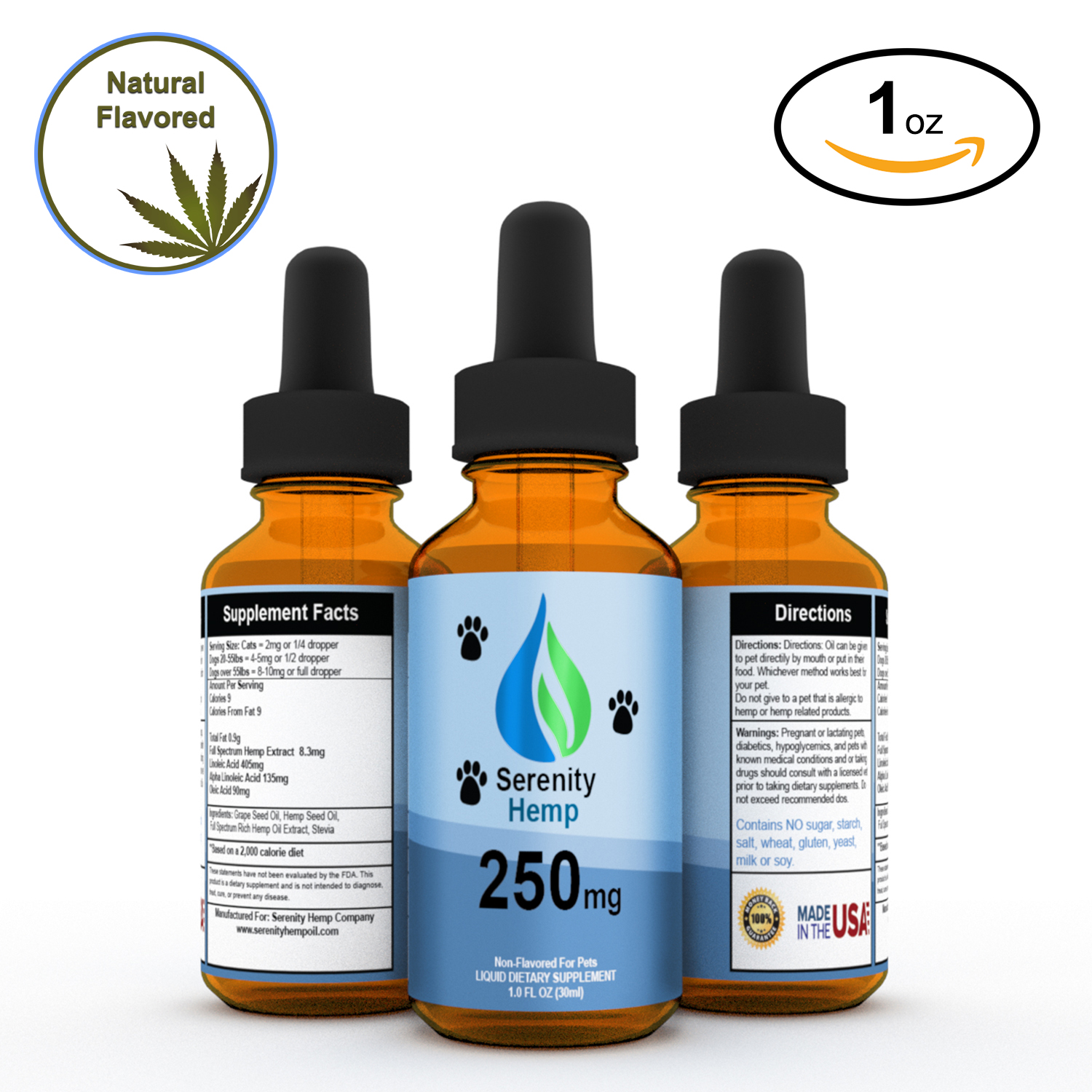 250mg 1 fl oz Serenity PET Full Spectrum Hemp Oil - Pain, Inflammation, and Joint Relief Supplement - Dogs and Cats