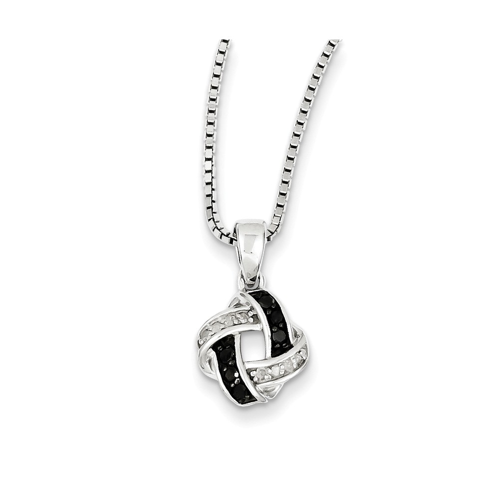 Sterling Silver Black & White Diamond Pendant (0.15ct)