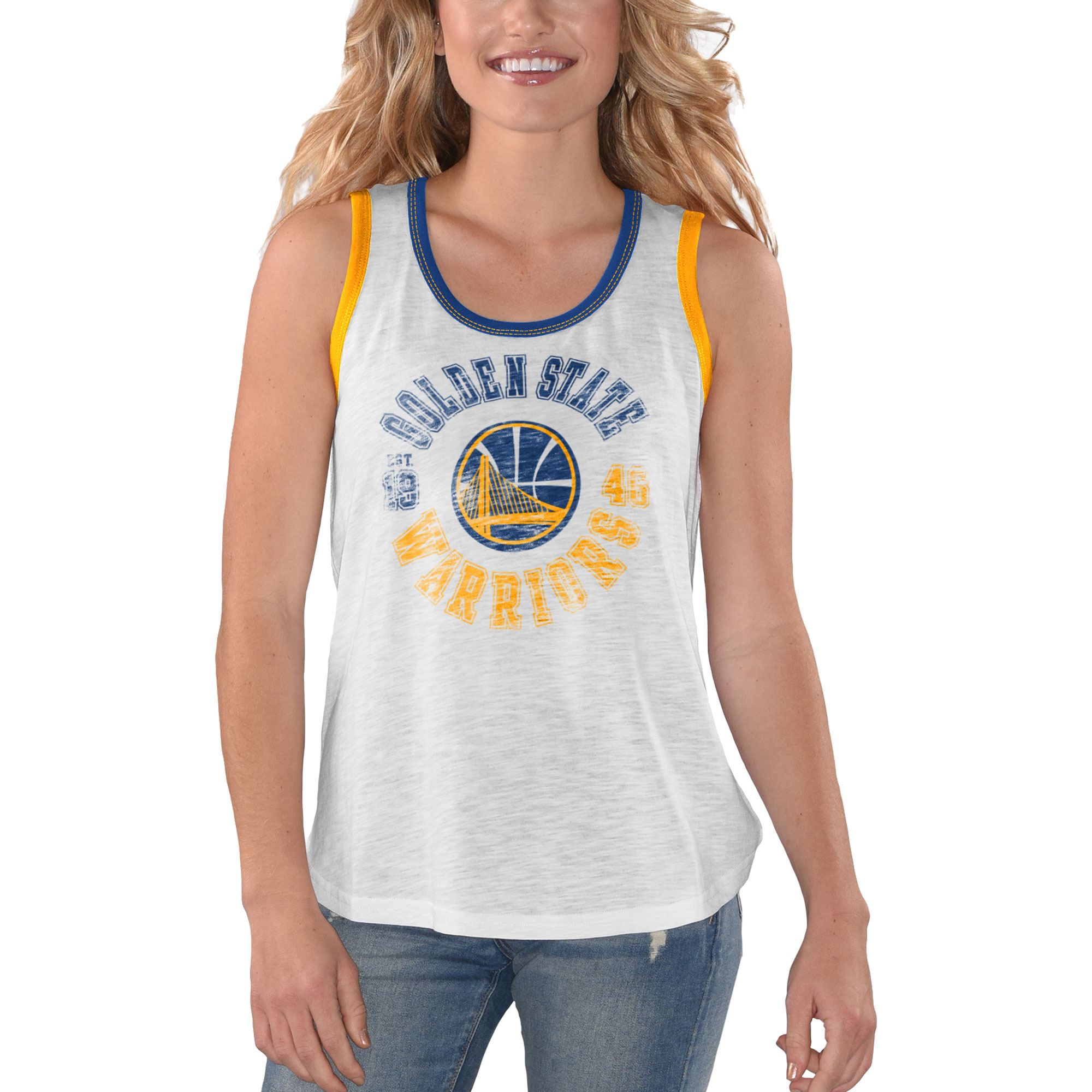 Golden State Warriors G-III 4Her by Carl Banks Women's Reverse Standing Sueded Slub Tank Top - White