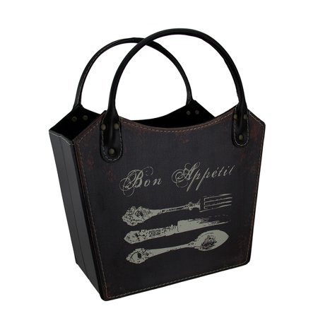 Vintage Silverware Print Faux Distressed Leather Storage Bag Basket 14 Inch ()
