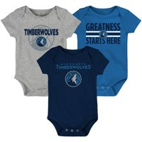 Minnesota Timberwolves Newborn & Infant Three-Pack Bodysuit Set - Blue/Navy/Gray
