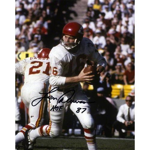 """NFL - Len Dawson Autographed 8x10 Photograph   Details: Kansas City Chiefs, with """"HOF 87"""" Inscription"""