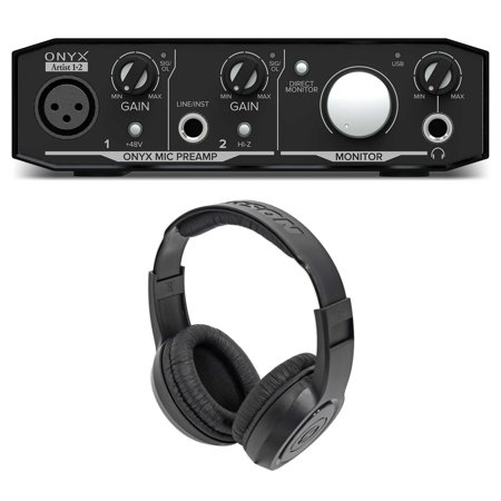 Mackie Onyx Artist 1.2 2x2 USB Recording Studio Interface + Samson Headphones Mackie Onyx Recording
