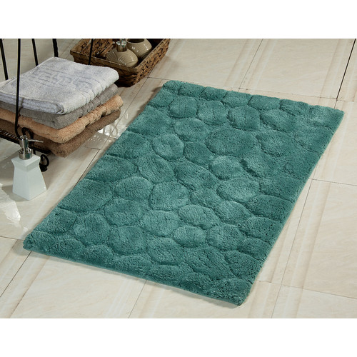 Pebbles Pattern Bath Rug in Blue (34 in. L x 21 in. W)
