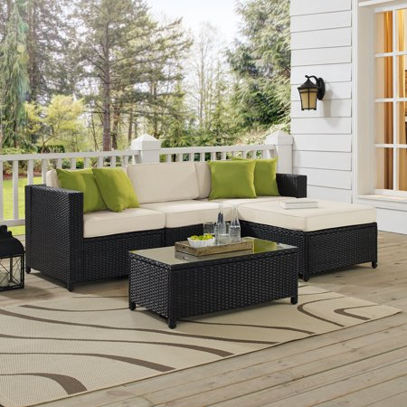 (Crosley Sea Island 5 Piece Wicker Sectional Set In Black)