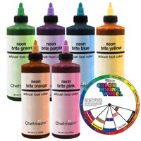 Chefmaster by U.S. Cake Supply 9-Ounce Neon Airbrush Cake Food Colors 6 Bottle Kit with Color Mixing Wheel