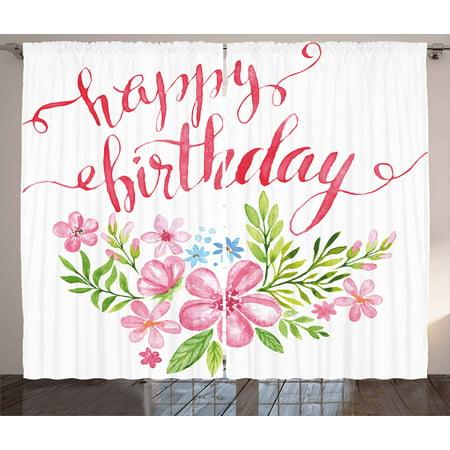 Birthday Curtains 2 Panels Set, Flower Bouquet Design Watercolor ...