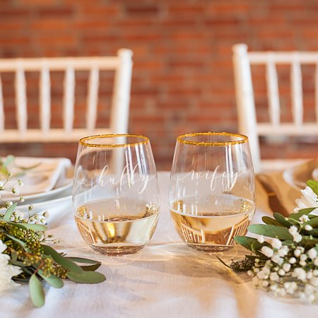 bf15ad9e37c Cathys Concepts Hubby & Wifey Stemless Wine Glasses - Walmart.com
