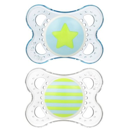 (2 Pack) MAM Clear Orthodontic Pacifier, 0-6 Months, 2-Count,