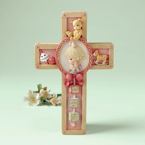 Precious Moments Jesus Loves Me Girl Praying Cross Hanging Art by Precious Moments