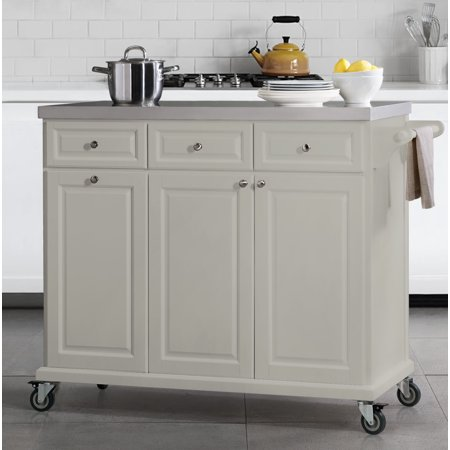 SJ Collection Buckhead Portable Kitchen Island Cart Cabinet on Wheels  w/Stainless Steel Top and Storage, Gray