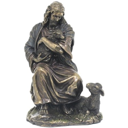 8.88 Inch Jesus Holding A Baby Lamb Cold Cast Bronze Figurine (Jesus Holding Baby)