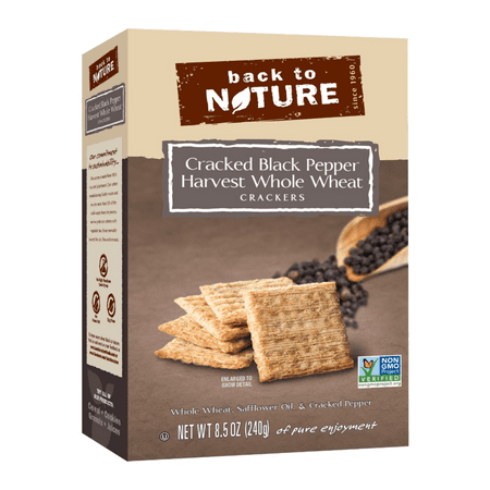 Back To Nature Harvest Whole Wheat Crackers, Cracked Black Pepper, 8.5