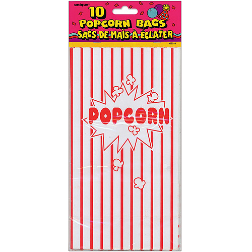 Paper Party Bags 10 Inch X 5.25 Inch 10/Pkg-Popcorn