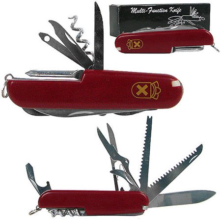 Whetstone 13 Function Swiss Type Army Knife, Red (Army Combat Knives)