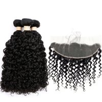 BEAUDIVA Brazilian Human Hair 3 Bundles With 13*4 Frontal Closure Water Wave Hair
