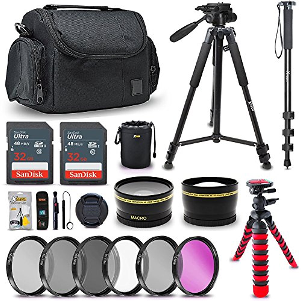Ultimate 58MM Accessory Bundle Kit for Canon EOS Rebel T7i T7 T6i T6S T6 T5i T5 T3i SL2 SL1 EOS 80D 77D 70D EOS 9000D 800D 760D 750D 1300D 1200D DSLR Cameras, Top Photography Accessories for Canon