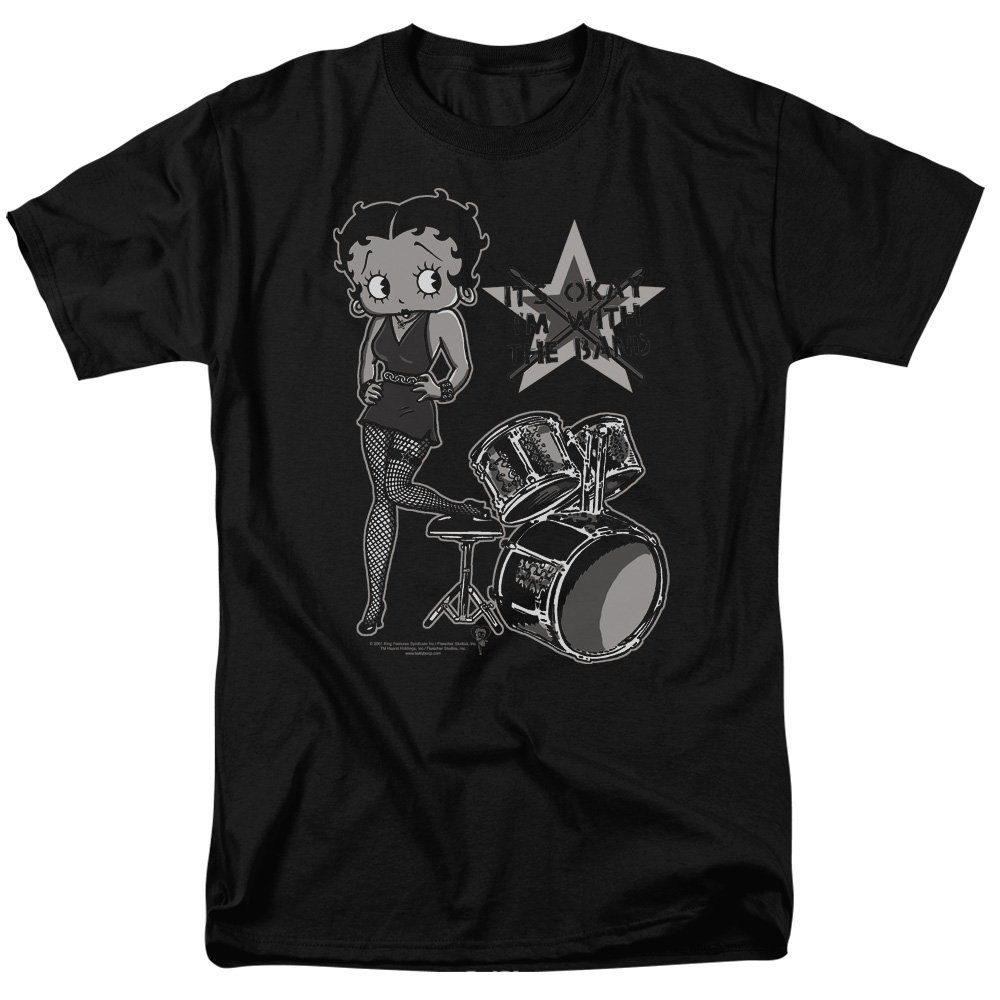 Betty Boop With The Band Mens Short Sleeve Shirt