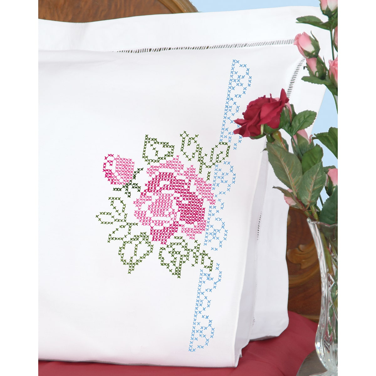 Jack Dempsey Stamped Pillowcases W//White Perle Edge 2//Pkg-XX Star