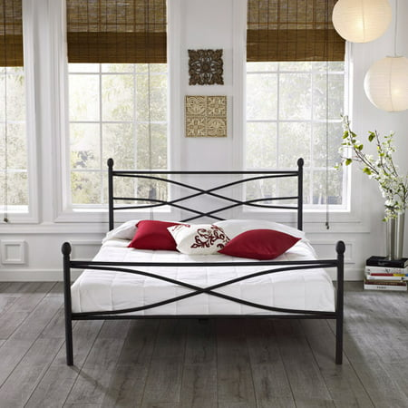 premier pia metal platform bed frame full with bonus base wooden slat system - Platform Bed Frames Full