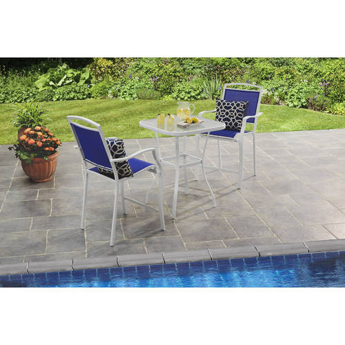 Mainstays Sand Dune 3-Piece High Outdoor Bistro Set, Blue