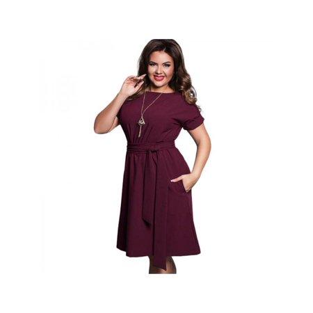 1318ec474b VICOODA Women Plus Size Maxi Dress Short Sleeve High Waist Knee-Length  Evening Party Dresses with Belt