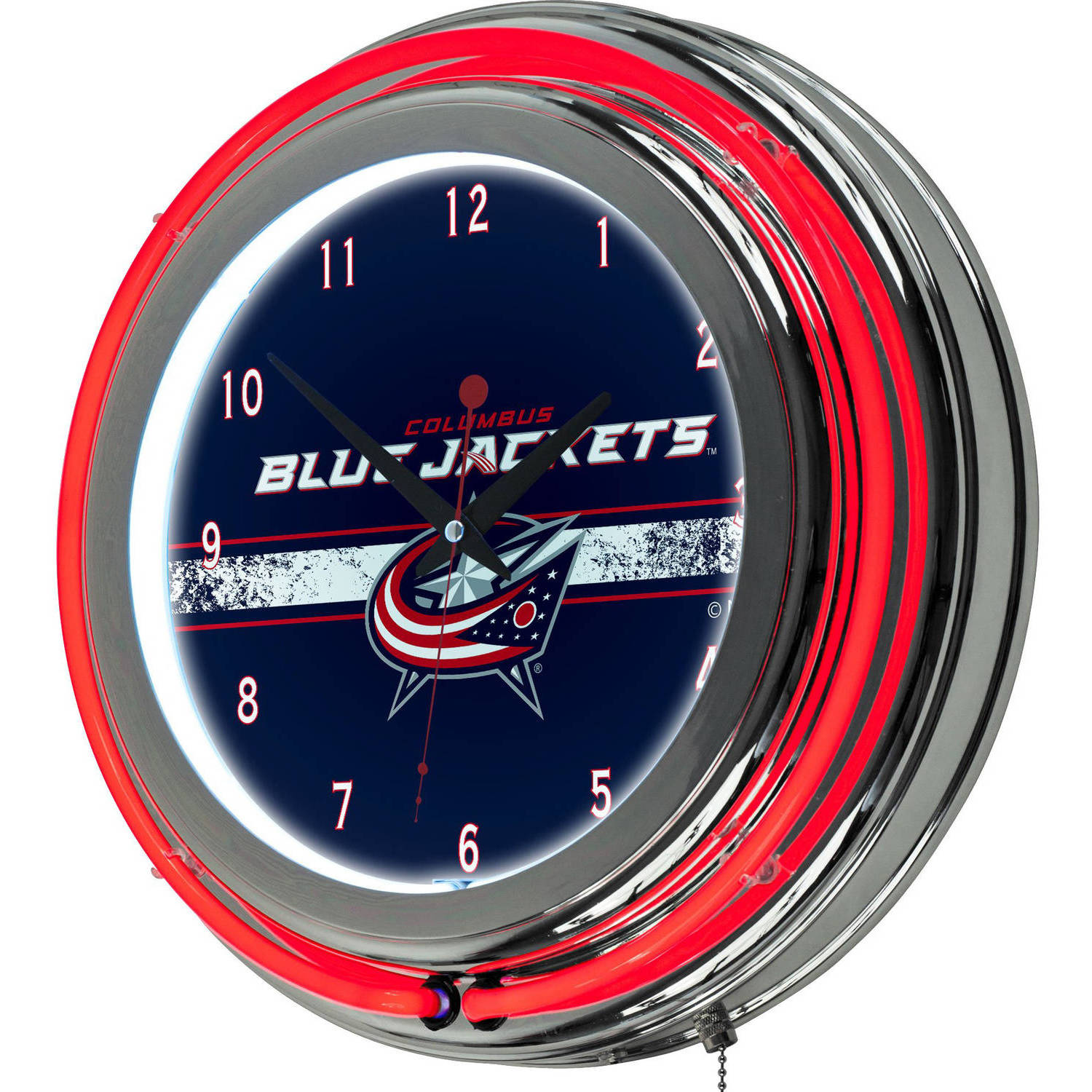 NHL Chrome Double Rung Neon Clock, Columbus Blue Jackets
