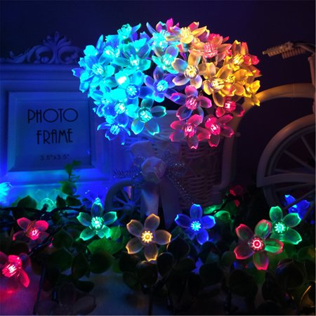Jml Sakura Solar String Lights   50 Led 8 Modes Waterproof Flower Garden Christmas Lights For Outdoor Party Wedding Patio Holiday Decorations