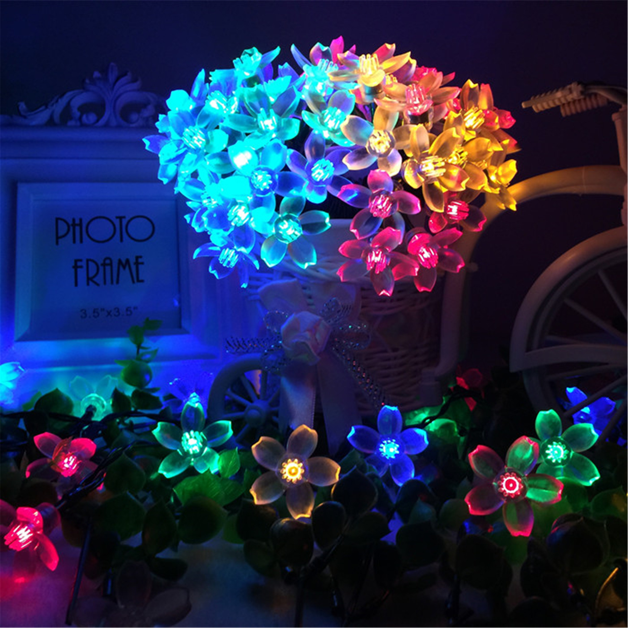 JML Sakura Solar String Lights – 50 LED 8 Modes Waterproof Flower Garden Christmas lights for Outdoor Party Wedding Patio Holiday Decorations