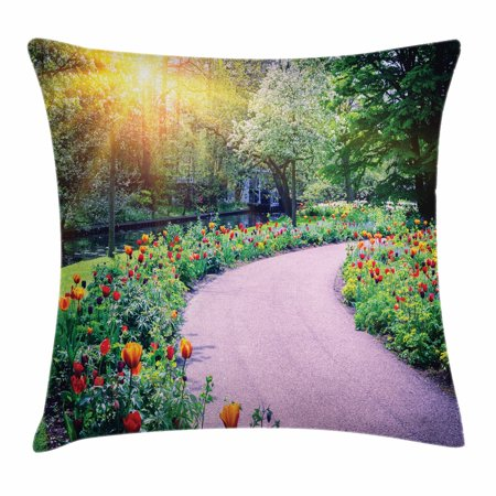 Garden Throw Pillow Cushion Cover, Spring Landscape with Colorful Tulips Keukenhof Garden in Netherlands Horticulture, Decorative Square Accent Pillow Case, 18 X 18 Inches, Multicolor, by (The Netherlands Tulips)