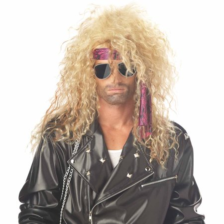 Blonde Heavy Metal Rocker Wig Adult Halloween Accessory