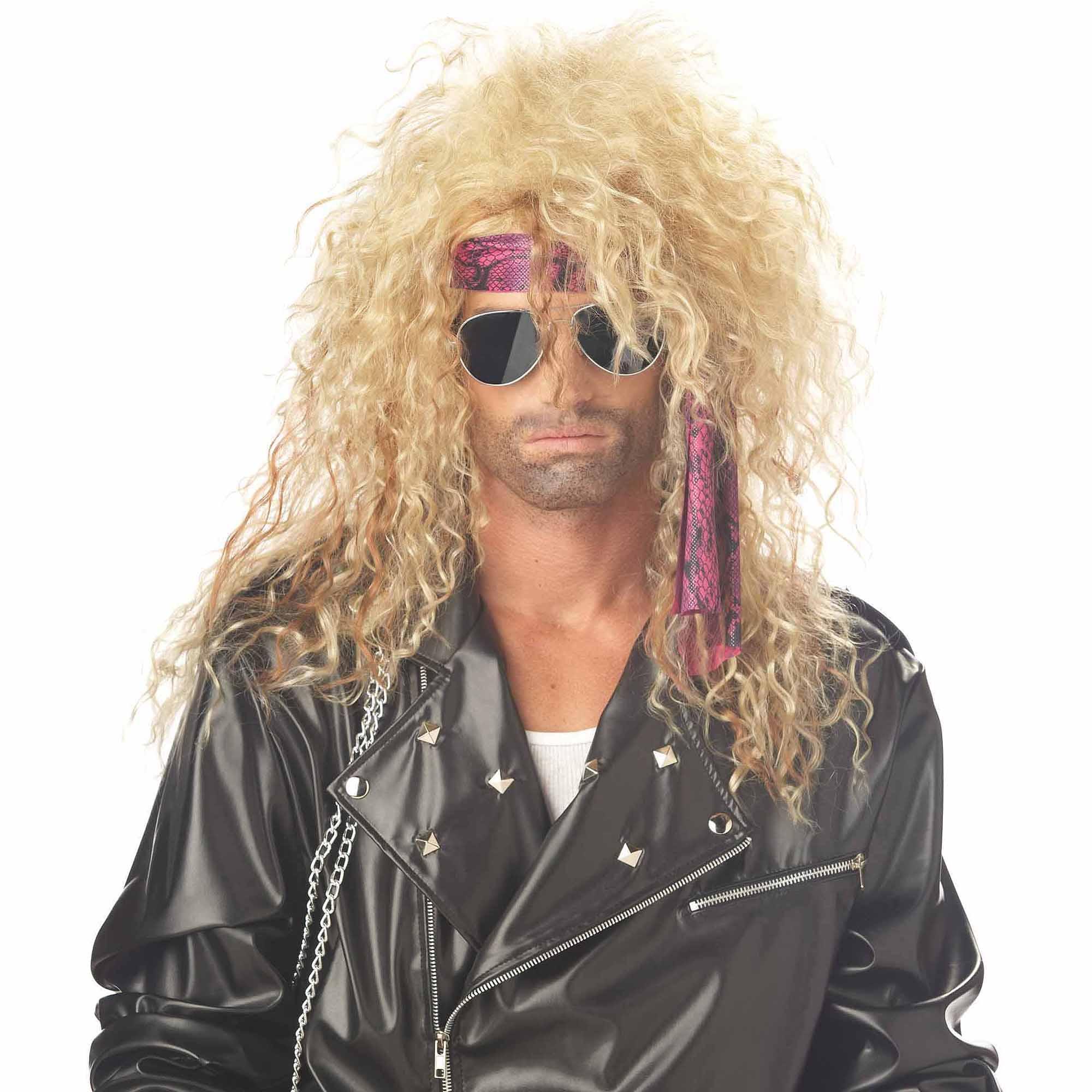 Blonde Heavy Metal Rocker Wig Adult Halloween Accessory