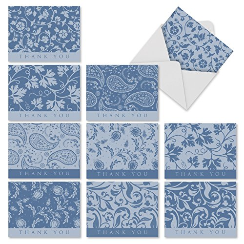 'M1709TY BLUE BY YOU' 10 Assorted Thank You Note Cards Feature Classic Paisley and Vining Floral Patterns in Delicate Blues with Envelopes by The Best Card Company