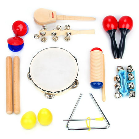 Musical Instrument Set 16 PCS | Rhythm & Music Education Toys for Kids | Clave Sticks, Shakers, Tambourine, Wrist Bells & Maracas for Kids | Natural Toys with Carrying Case (Best Musical Instruments For Kids)
