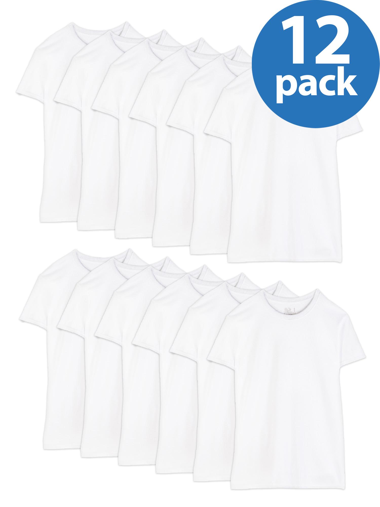Men's Dual Defense White Crew T-Shirts, 12 Pack