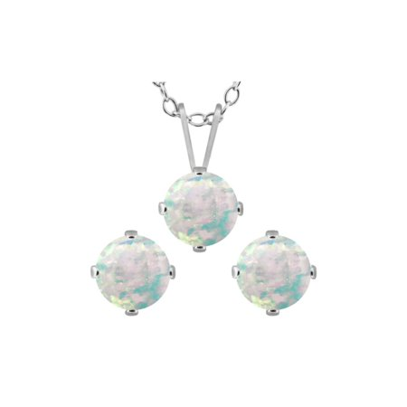 1.95 Ct Round White Simulated Opal 925 Sterling Silver Pendant Earrings Set - image 1 of 1