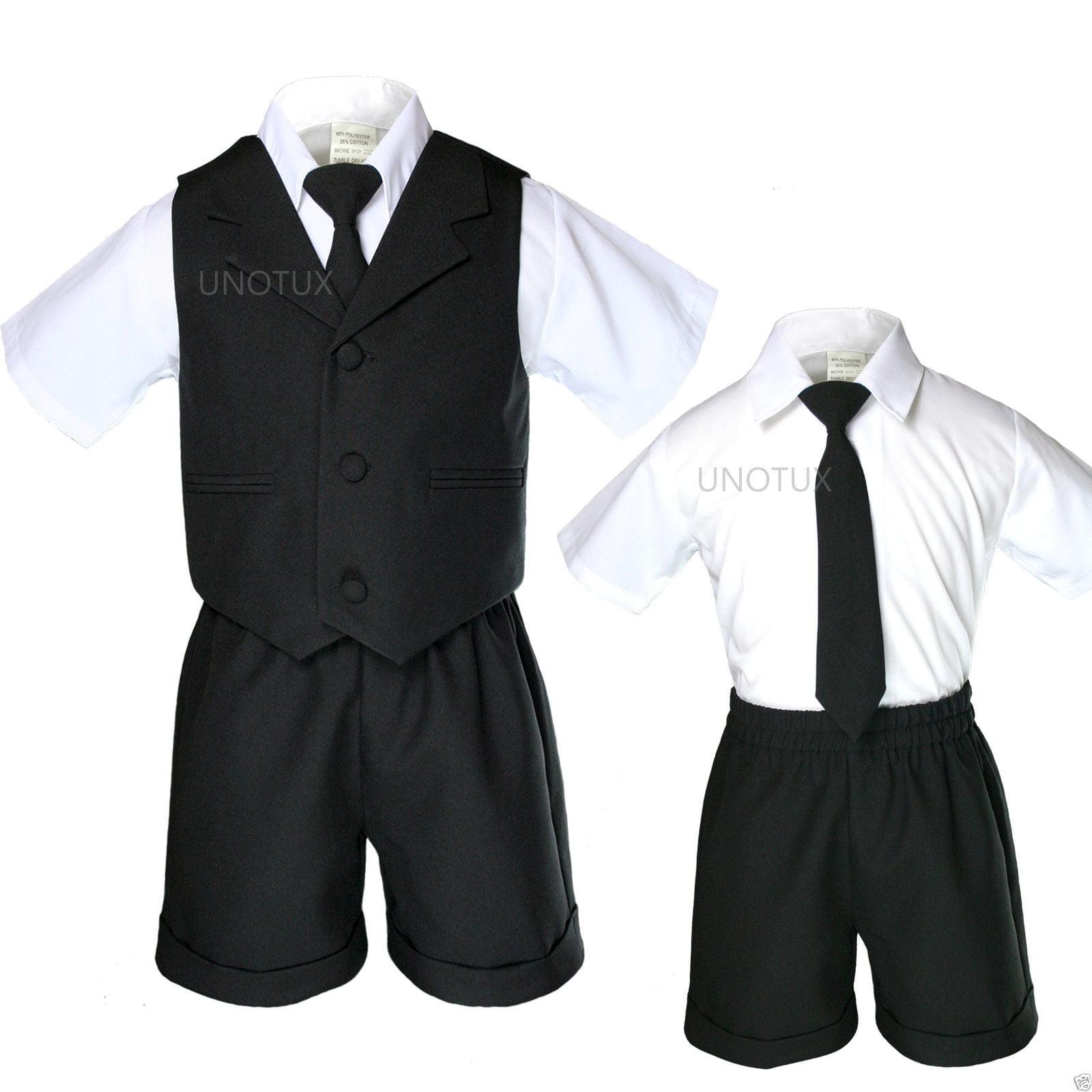 Baby Boy Toddler Eton Formal Vest Set Suits Outfits Navy Blue S M L XL 2T 3T 4T