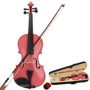 4/4 Violin for Beginners, Acoustic Solid Violin Fiddle Starter Kit with Violin Case, Bow, Violin Rosin, Musical Instruments for Kids/Adult, Violin Outfit Set, Thanksgiving Christmas Gift, Pink, W6726