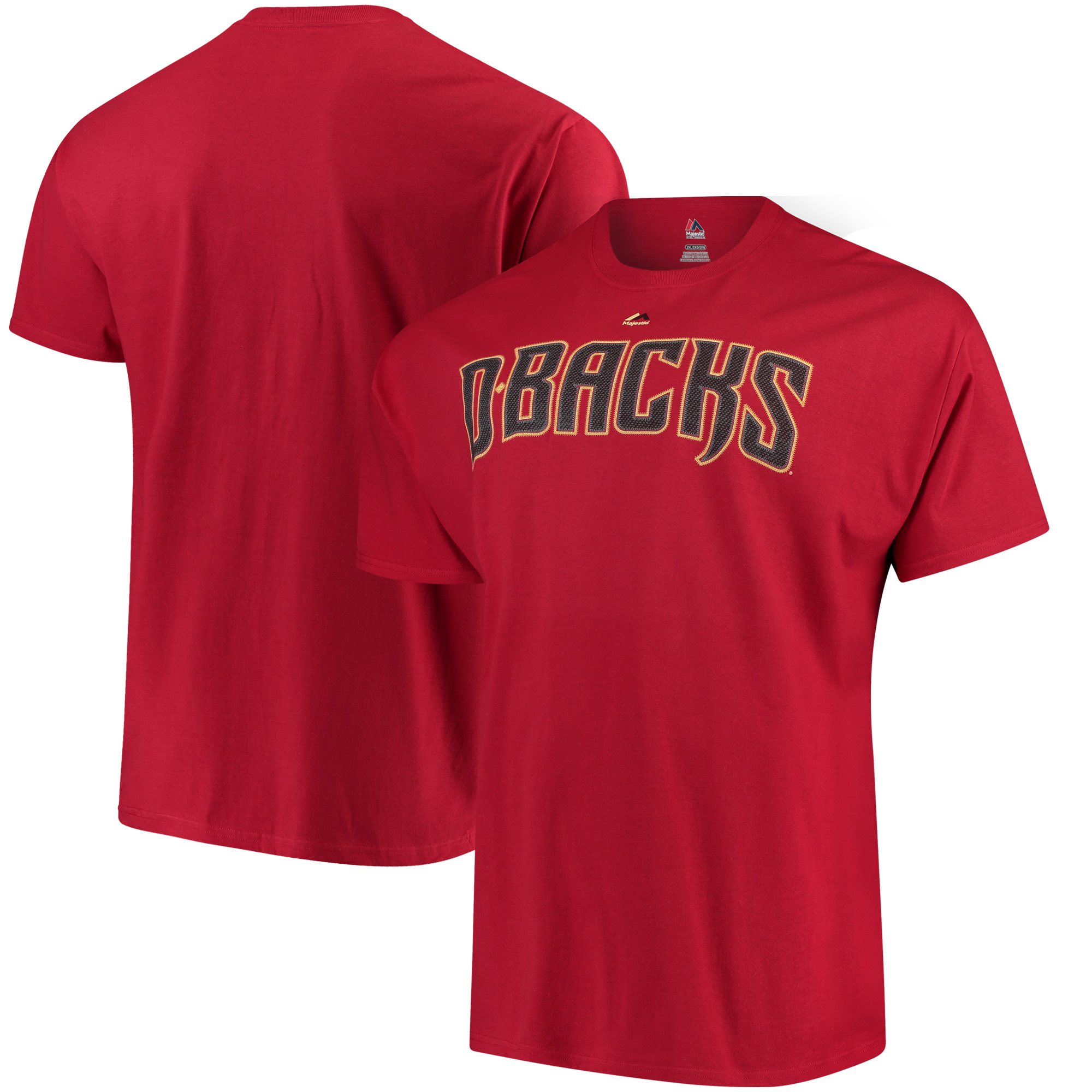 Arizona Diamondbacks Majestic Puff Ink Wordmark T-Shirt - Crimson