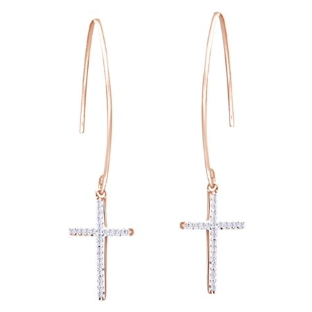 Round Cut White Natural Diamond Cross Dangle Earrings In 14K Rose Gold Over Sterling Silver (0.1 Cttw)