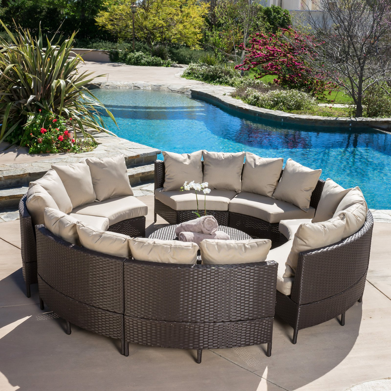 Avalon Wicker 10 Piece Patio Conversation Set with Cushions by Best Selling Home Decor Furniture LLC