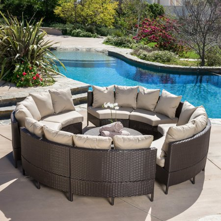 Avalon Wicker 10 Piece Patio Conversation Set with Cushions ()