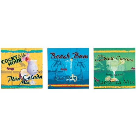 Advertising Canvas (Cocktail Hour Beach Bum Cantina Advertising 12 Inch Canvas Set of 3 Wall Signs)