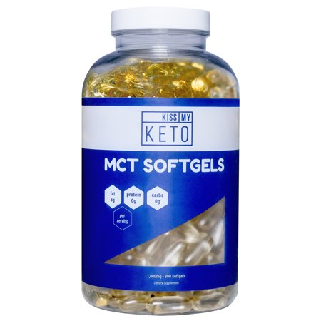 Kiss My Keto MCT Oil Capsules - 1000 mg 300 Count - Take MCT with You On The Go - Quick, Convenient and Easy to Digest Softgels That Support Natural Sustained Energy, Mental Focus & Weight
