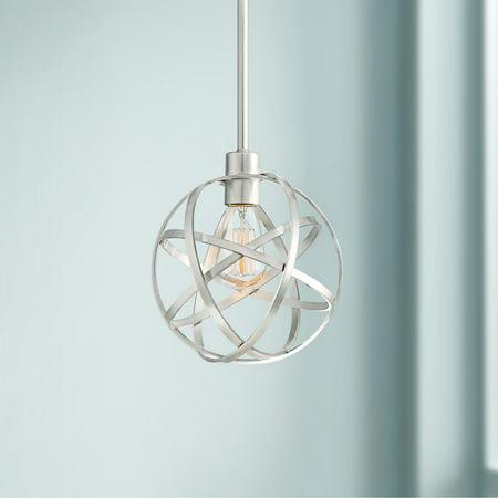 Franklin Iron Works Brushed Nickel Cage Mini Pendant Light 8
