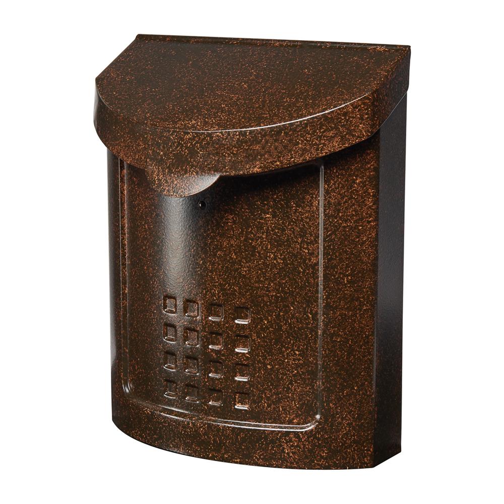 Gibraltar Mailboxes Lockhart Locking Medium Capacity Galvanized Steel Aged Copper Wall Mount Mailbox, MBK694AC