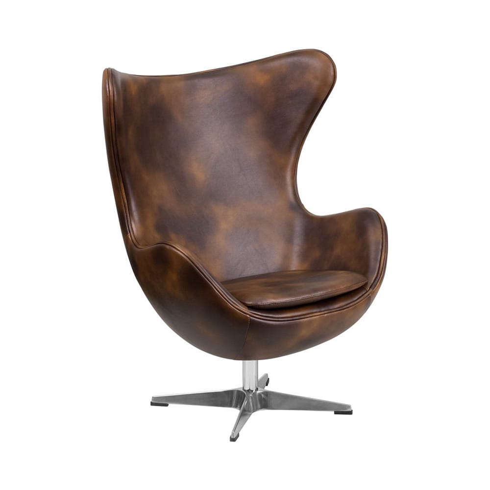 De Egg Chair.Offex Retro Style Padded Cushion Upholstery Leather Egg Chair With