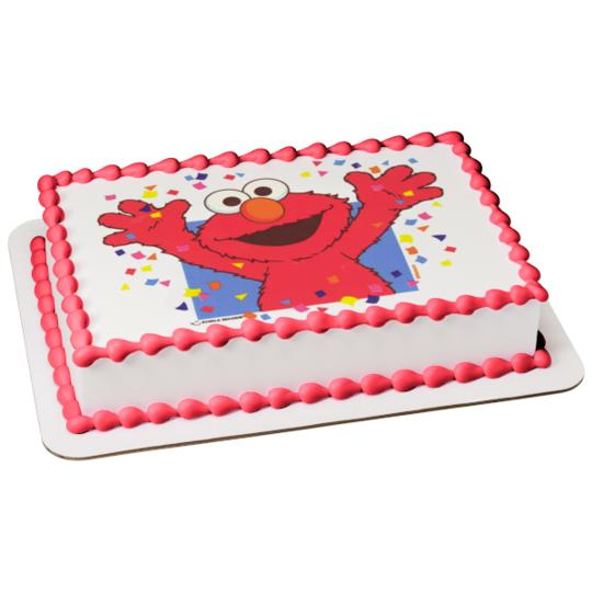 Sesame Street Elmo Celebration Confetti Edible Cake Topper Image 1 4 Sheet Walmart Com