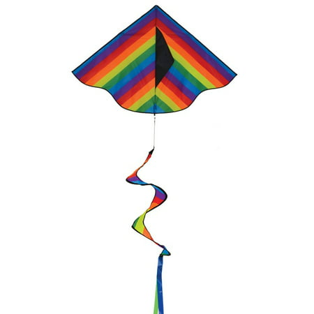 In the Breeze Rainbow Stripe Delta Kite with Spinning Tail (Kite Tails)