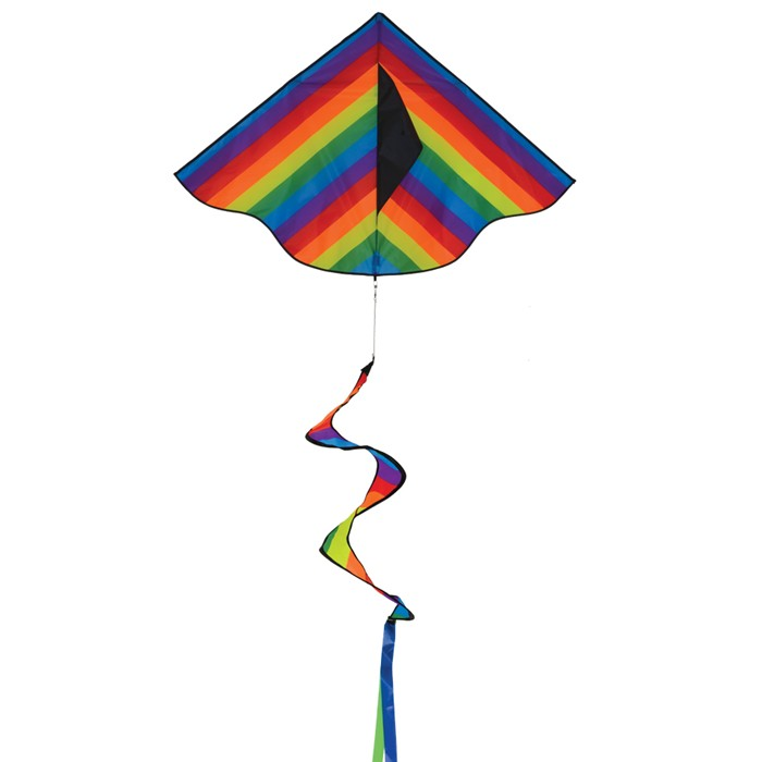 In the Breeze Rainbow Stripe Delta Kite with Spinning Tail